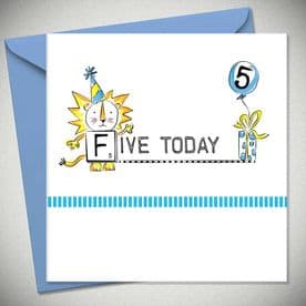 5th Birthday Five Today - Blue