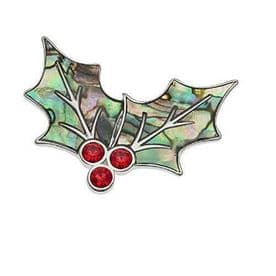 Abalone Shell Holly Leaf Brooch Pin