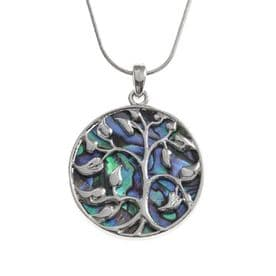 Abalone Shell Tree of Life Necklace (43mm)