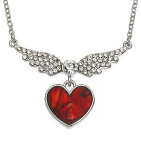 Angel Heart Crystal Necklace (Red Abalone Shell)