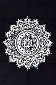 Black & White Indian Mandala Cotton Tapestry