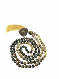 Blue Brown Tiger Eye 108 Beads Mala Necklace
