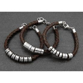 Braided Brown Leather Bracelet - Large
