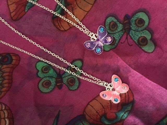 Crystal Butterfly Necklace For Girls Kids