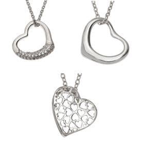 Crystal Heart Necklace - Silver Plated