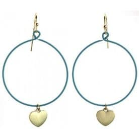 Delicate Round Heart Hoops (Teal)