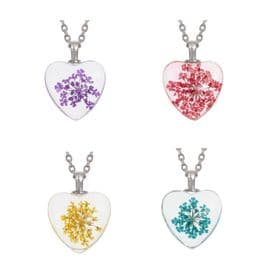 Dried Flower Heart Necklaces