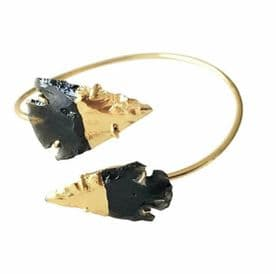 Gold Filled  Black Obsidian Wire Bangle
