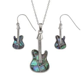 Guitar Necklace & Earrings Set
