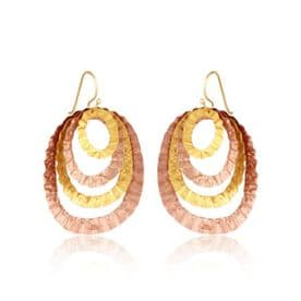 Hammered Rose Gold and Gold Oval Layer Earrings