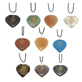 Heart Pendant Om Engraved Chakra Necklace