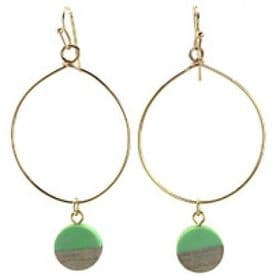 Large Round Hoops - Green Circle Charm