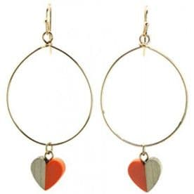 Large Round Hoops With Wooden Heart Charm (Orange)