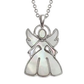 Mother of Pearl Guardian Angel Pendant Necklace