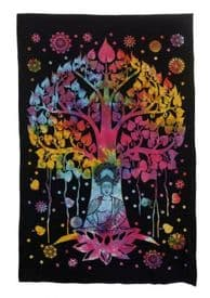 Multi-Coloured Buddha Tree of Life  Cotton Tapestry