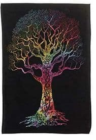 Multi Coloured Tree of Life Cotton Tapestry