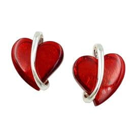 Paint The Town Red Heart Earrings