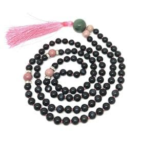 Rare Blue Tiger Eye and Rhodochrosite Mala Necklace