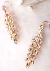 Rose Gold Emerald Zircon Leaf Earrings