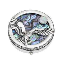 Silver Plated Owl And Moon Trinket Pill Box