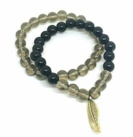 Smokey Quartz Obsidian Bracelet Pair - Feather Charm