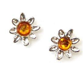 Sterling Silver Amber Flower Studs
