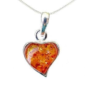 Sterling Silver Amber Stylised Heart Necklace