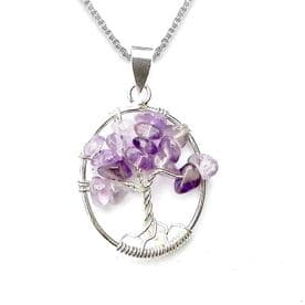 Sterling Silver Amethyst Tree of Life Necklace