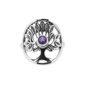 Sterling Silver Amethyst Tree Of Life Ring