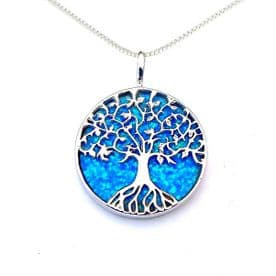Sterling Silver Blue Opal Large Tree of Life Necklace