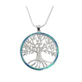 Sterling Silver Blue Opal Tree of Life Necklace - Extra Large