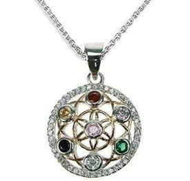 Sterling Silver Chakra Flower of Life Necklace