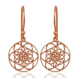 Sterling Silver Flower of Life Earrings (Rose Gold Plated)