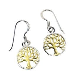 Sterling Silver Gold Plated Tree of Life Earrings