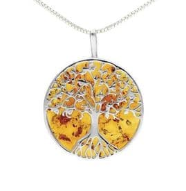 Sterling Silver Large Amber Tree of Life Necklace