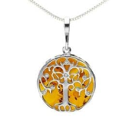 Sterling Silver Medium Amber Tree of Life Necklace