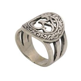Sterling Silver Om (Peace) Carved Ring