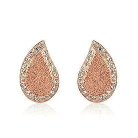 Sterling Silver Paisley Studs (14k Rose Gold Plated)