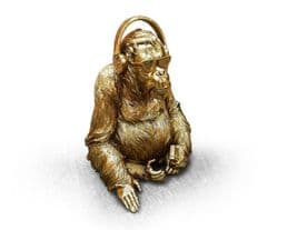 Striking Gold Gorilla With Headphones