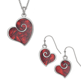Stylised Heart Necklace and Earrings (Abalone Shell)