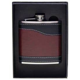 Stylish Hip Flask - Tan Black (6oz / 170ml)