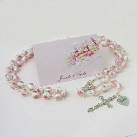 Engraved Rosary with Beautiful Lampwork Beads