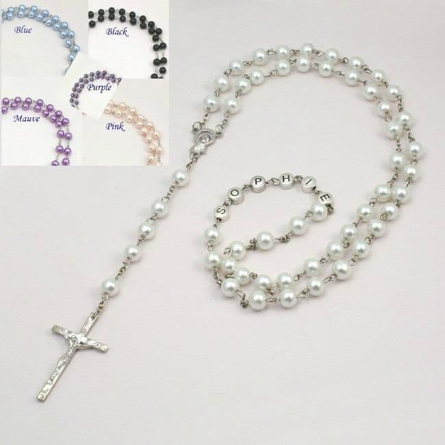 Pearl Rosary Beads with Name | Heavens Blessings