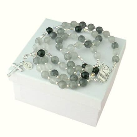 Personalised Rosary Silver Quartz & Onyx, Sterling Silver