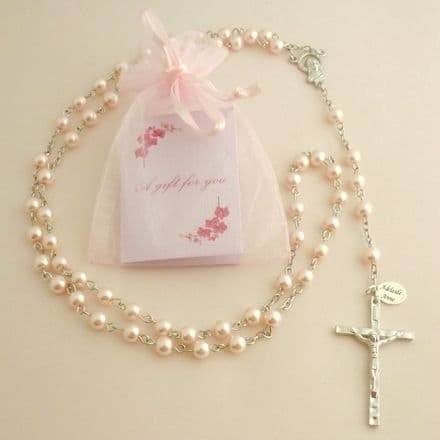 Personalised Rosary with Smaller Beads, Pink