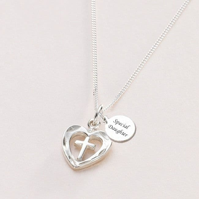 Silver Heart Cross Necklace with Engraving | Heavens Blessings