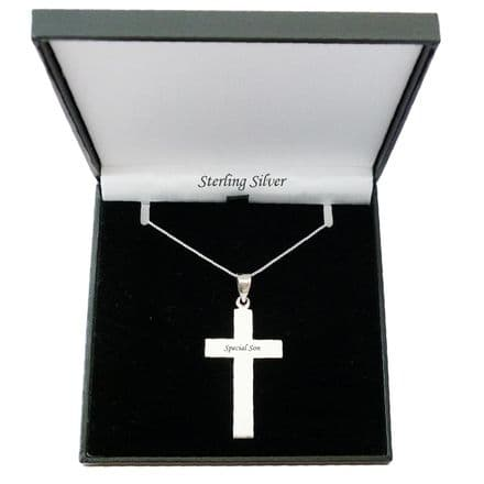 Solid Silver Cross with Engraving for Man or Boy