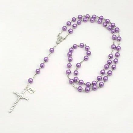 Wired Personalised Rosary, Mauve Pearls, Any Engraving