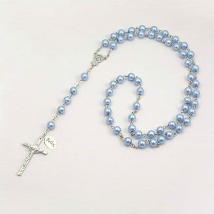 Wired Personalised Rosary, Pale Blue Pearls, Any Engraving