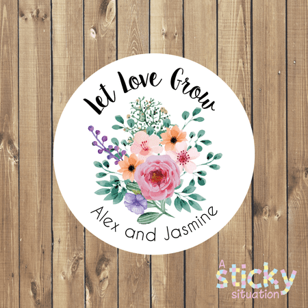 Personalised 'Let Love Grow' Stickers - Floral Design